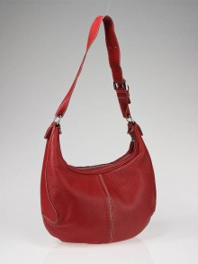 Tod's Red Pebbled Leather Hobo Bag