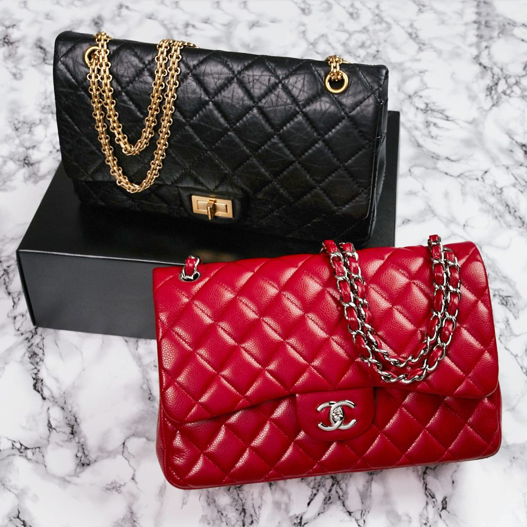 dd2c608269d1 Chanel Quilted 2.55 Flap Bag and Red Quilted Classic Jumbo Flap Bag |  Yoogi's Closet yoogiscloset
