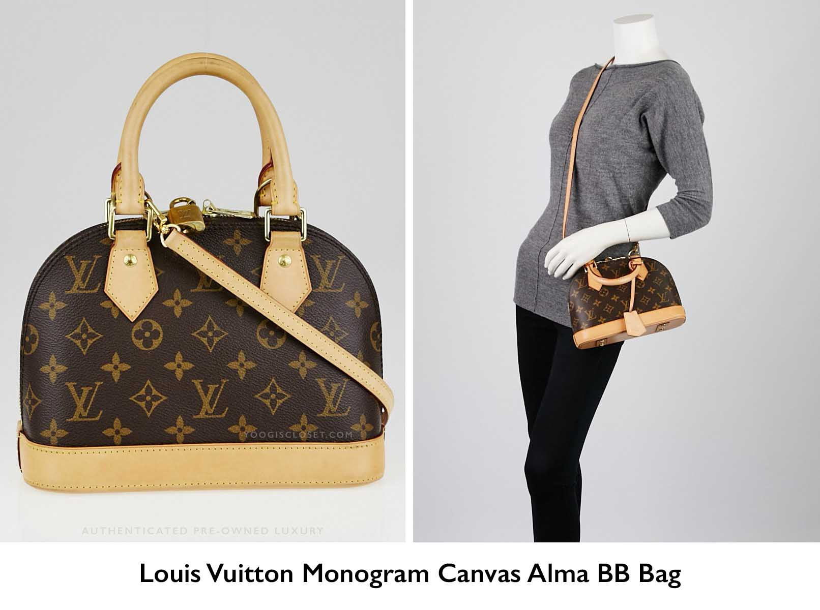 Authentic Louis Vuitton Monogram Canvas Alma Bb Crossbody Bag Yoogiscloset