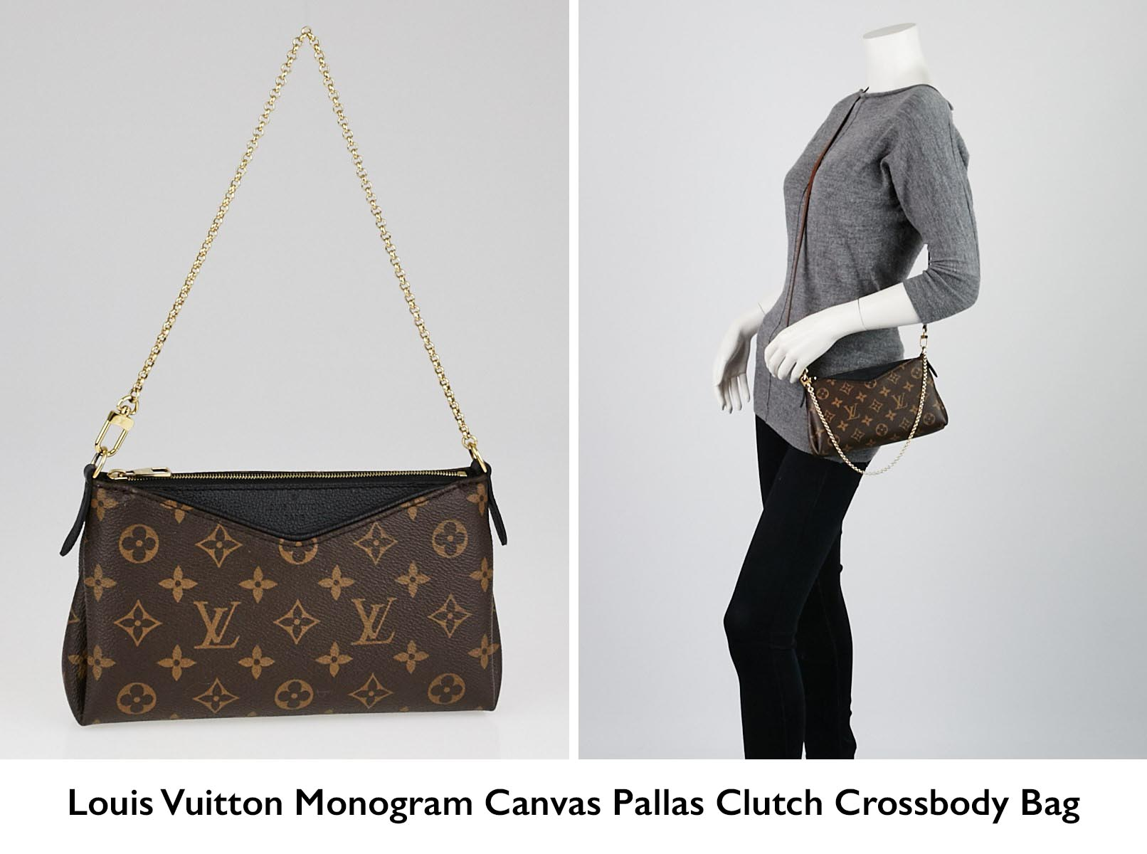 2fae85229a6f Authentic Louis Vuitton Monogram Canvas Pallas Clutch Crossbody Bag