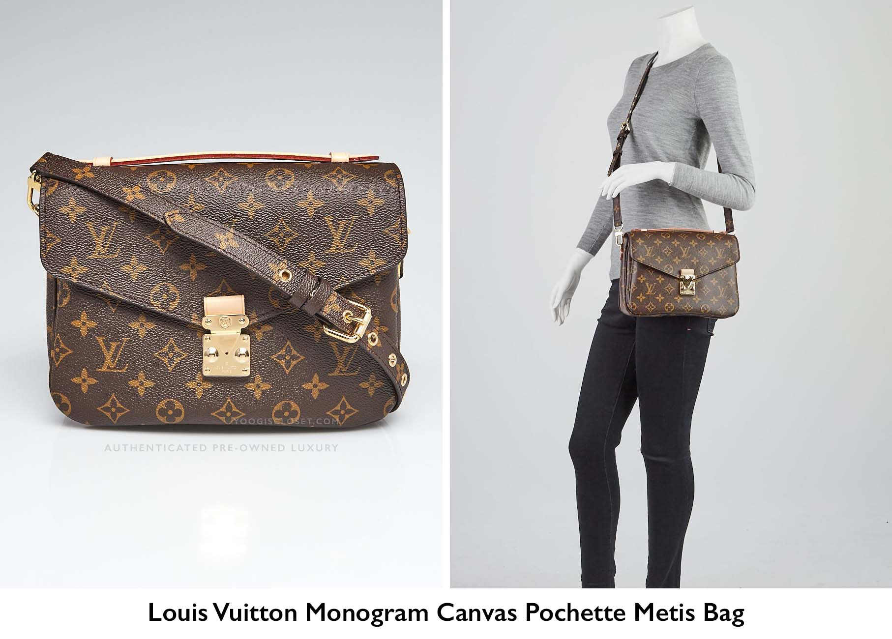 895321bc95b7 Authentic Louis Vuitton Monogram Canvas Pochette Metis Crossbody Bag