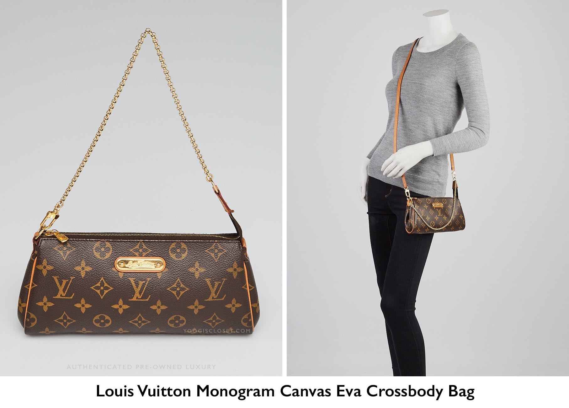 d62cc40c648d Authentic Louis Vuitton Monogram Canvas Eva Clutch Crossbody Bag