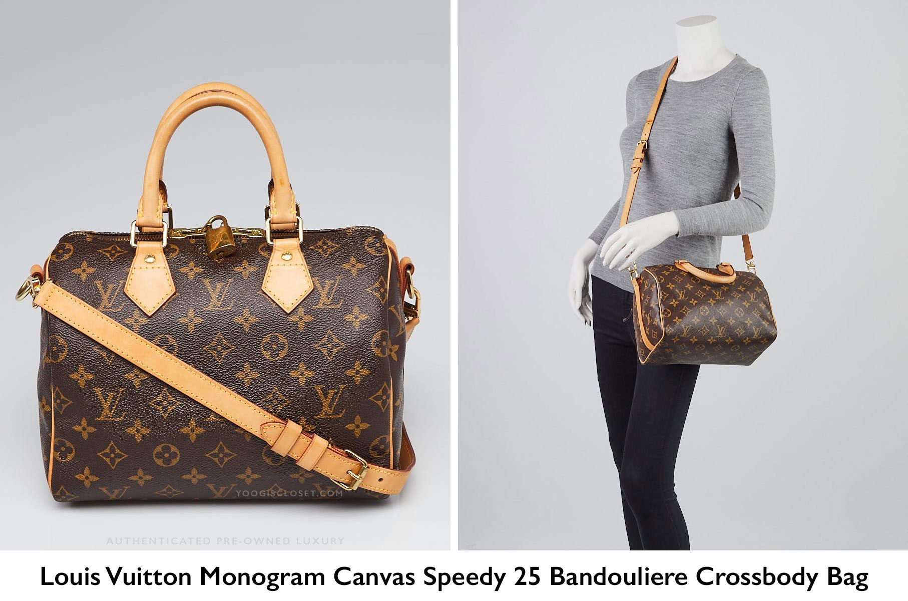 ca585325a8b5 Authentic Louis Vuitton Monogram Canvas Speedy Bandouliere 25 Crossbody Bag