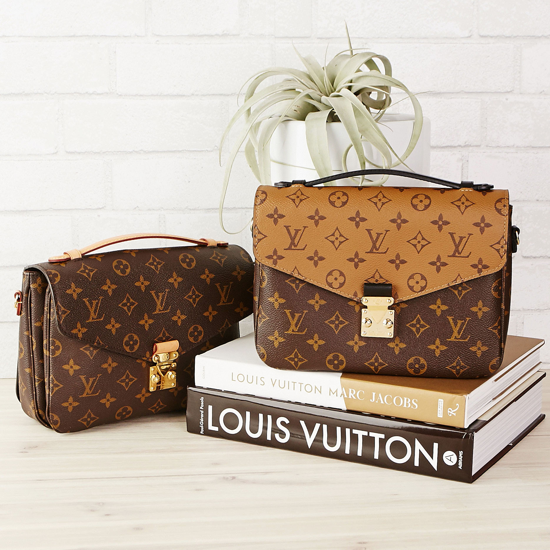 55ceb9ec2b4 Two Pochette Metis handbags are better than one! Love the Louis Vuitton  Pochette Metis in