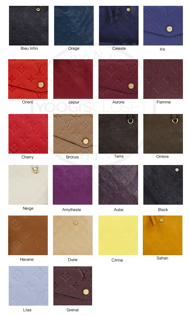 louis vuitton information guide louis vuitton empreinte color guide
