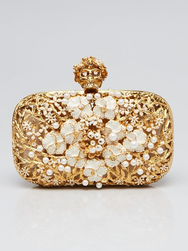 Alexander McQueen Gold Metal Flower Pearl Skull Box Clutch