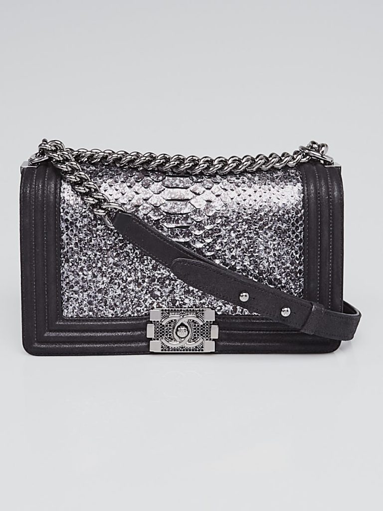 Chanel Silver/Black Python and Leather Medium Boy Bag | YoogisCloset.com