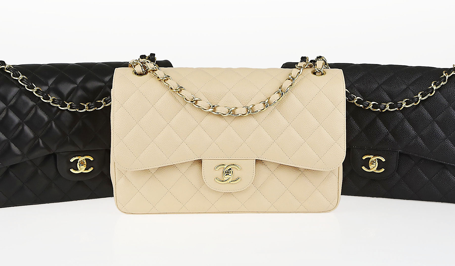 Authentic Chanel Classic Flap Bags Real 24k Gold
