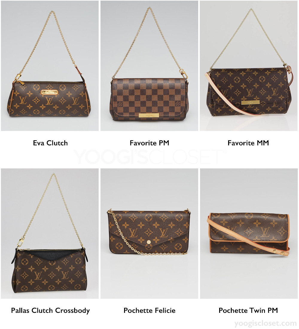 Best Louis Vuitton Monogram and Damier Small Crossbody Bags: Eva Clutch, Favorite PM, Favorite MM, Pallas Clutch Crossbody, Pochette Felicie, Pochette Twin PM