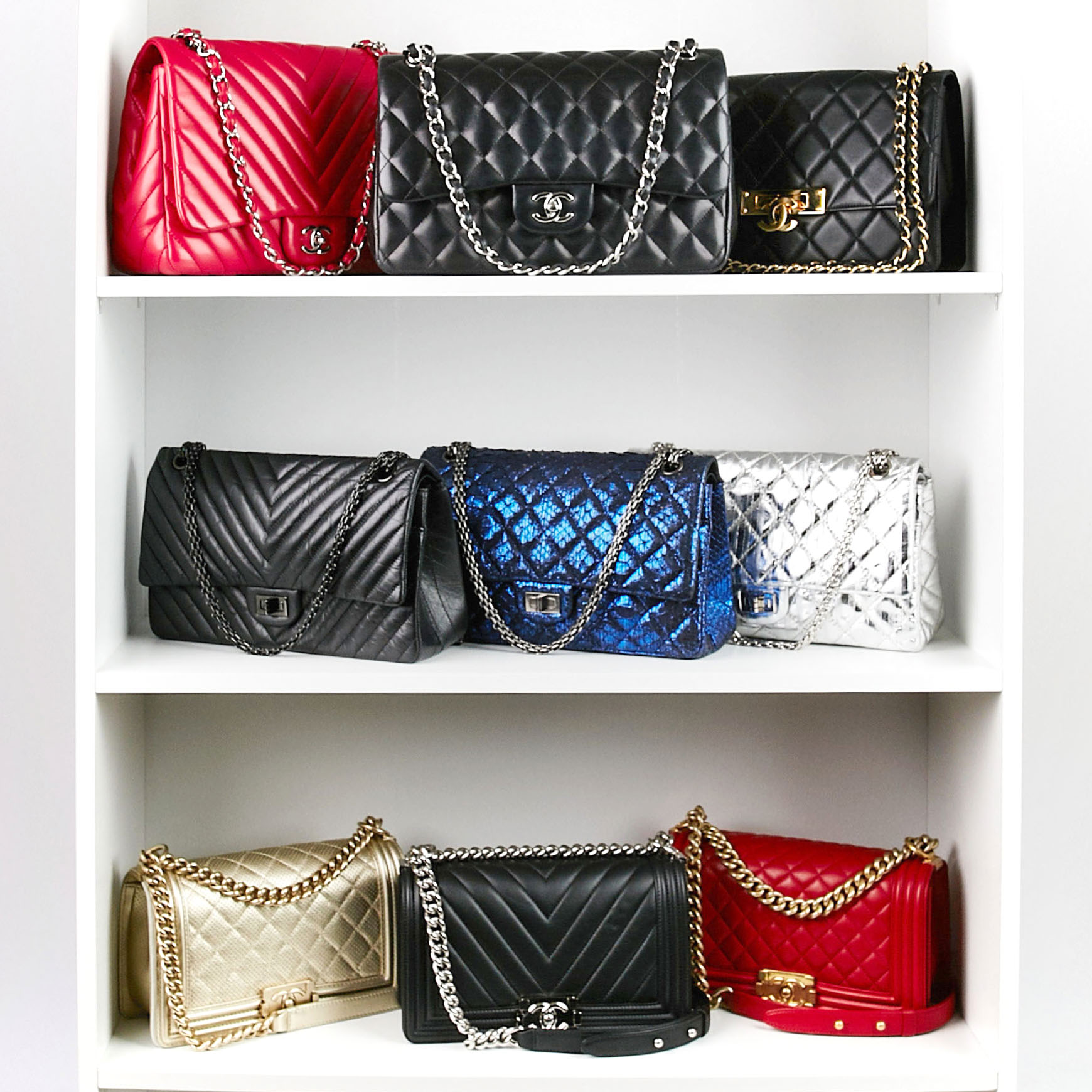 Chanel Handbag Collection Shelfie with Chanel Classic Flap, 2.55 Reissue and Boy Bag | Shop Chanel on Yoogi's Closet, Authenticated Pre-Owned Luxury www.yoogiscloset.com