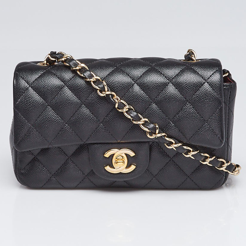 Chanel Black Caviar Leather New Mini Classic Flap Bag | Yoogi's Closet Authenticated Pre-Owned Luxury yoogiscloset.com