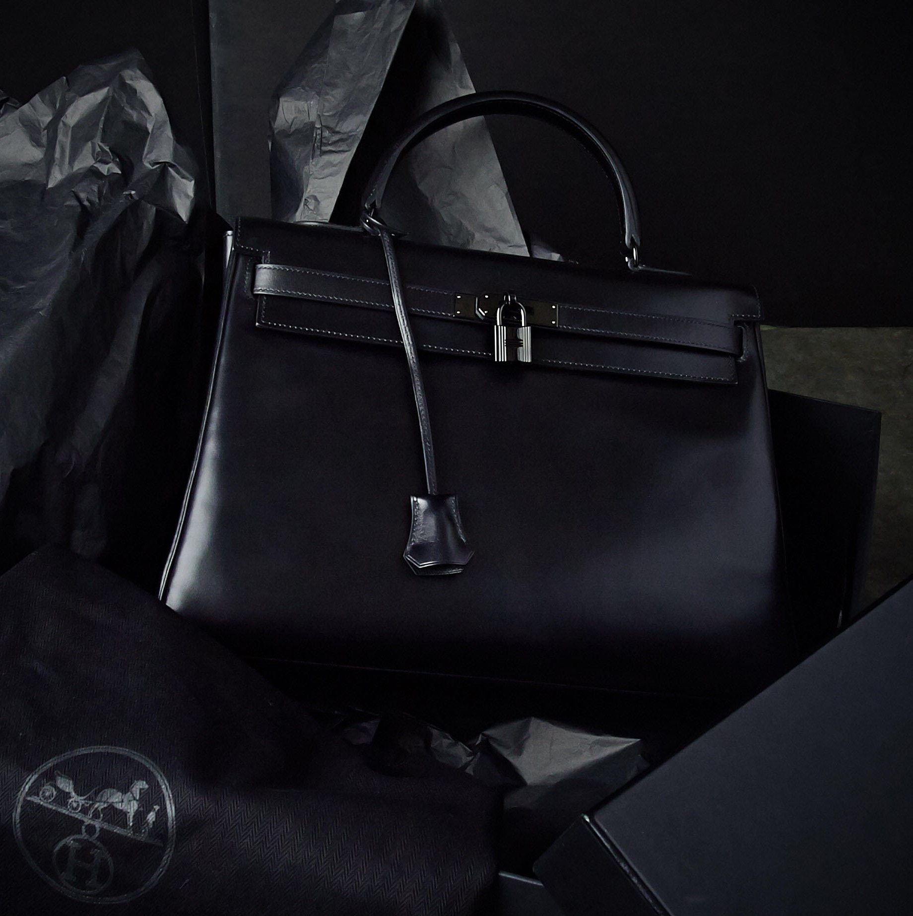 Hermes Black on Black SO BLACK Kelly Bag   Yoogi's Closet Authenticated Pre-Owned Luxury yoogiscloset.com