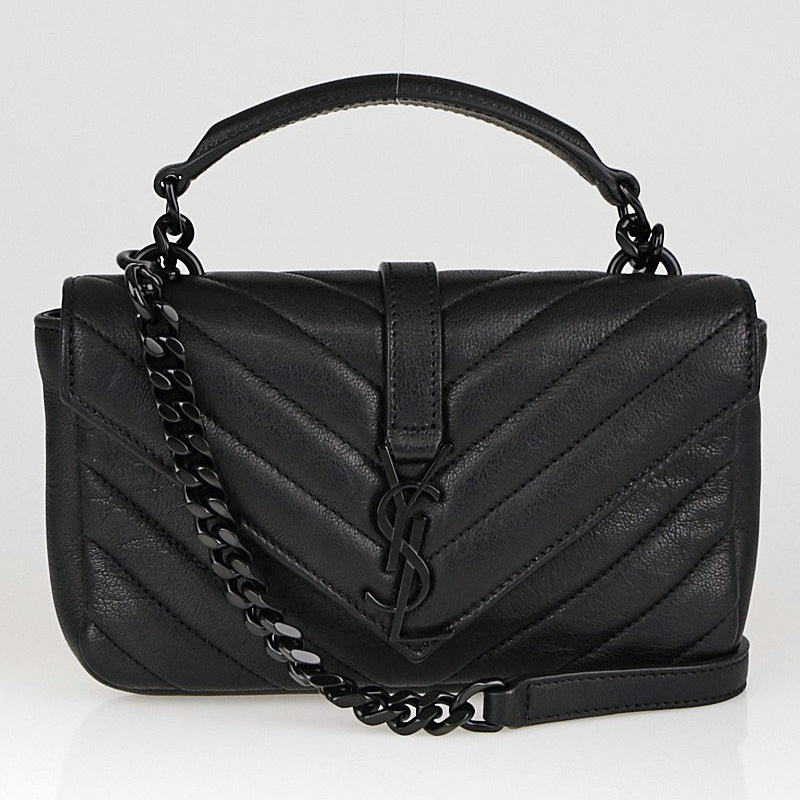 YSL Black Chevron Wallet on Chain College Bag | Yoogi's Closet Authenticated Pre-Owned Luxury yoogiscloset.com