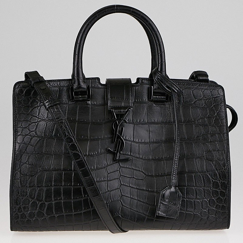 Yves Saint Laurent Black Croc Monogram Cabas | Yoogi's Closet Authenticated Pre-Owned Luxury yoogiscloset.com